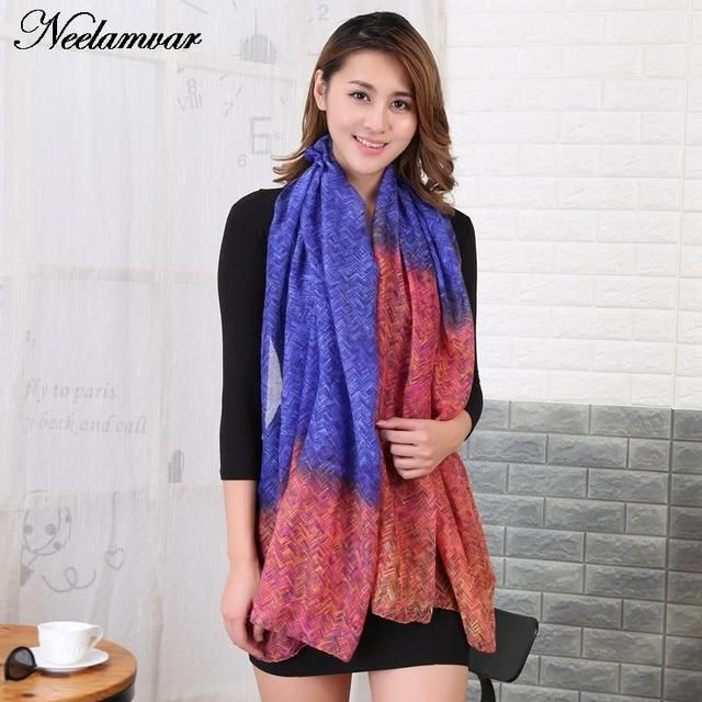 New gradients Scarf  winter plaid Print Women shalws Bohemian Style Summer pareo girls bufandas from india  cachecol feminino