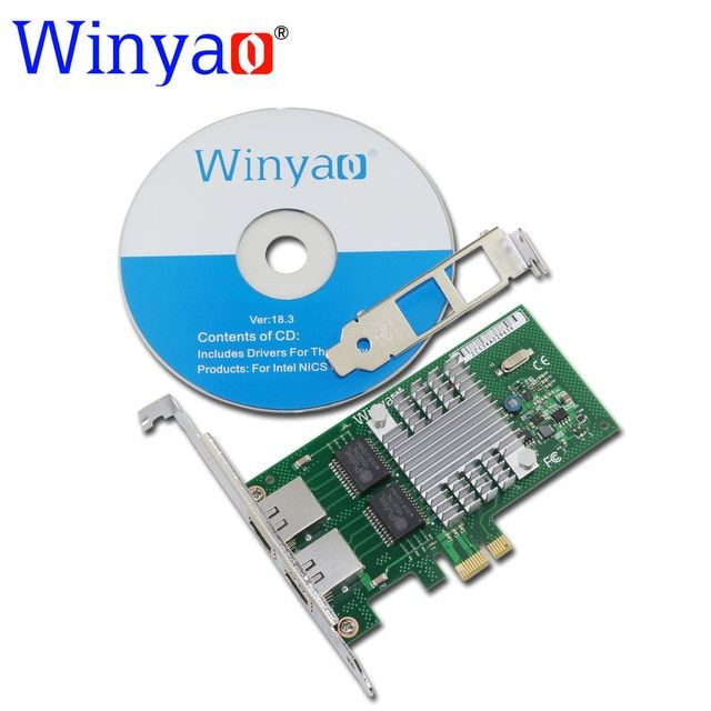 Winyao WY580T PCI-E X1 10/100/1000Mbps Dual Port Gigabit Ethernet Network Interface Card 2*RJ45 Compatible  I340-T2 82580