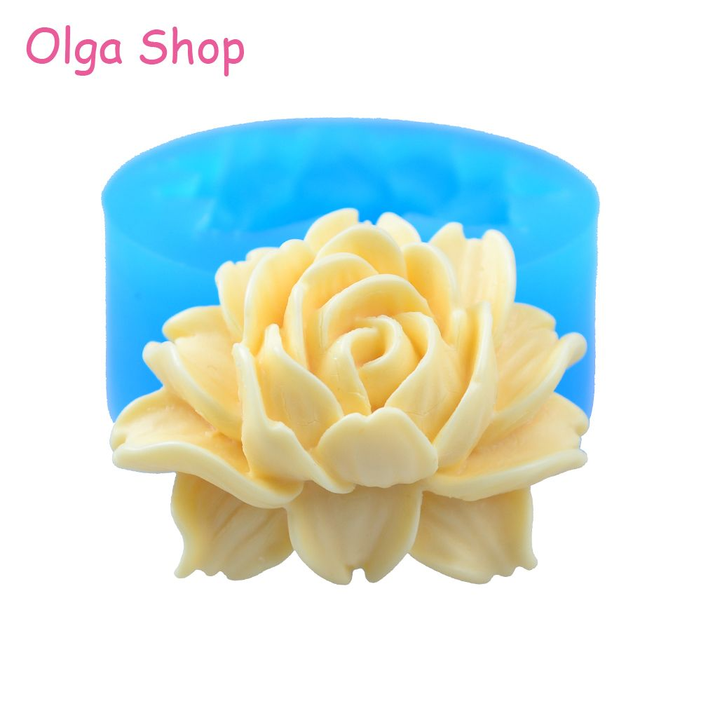 HYL047 41.9mm Rose Flower Silicone Mold - Cupcake Topper Wedding Cakes Cake Decoration Resin Polymer Clay Necklace Brooch Molds