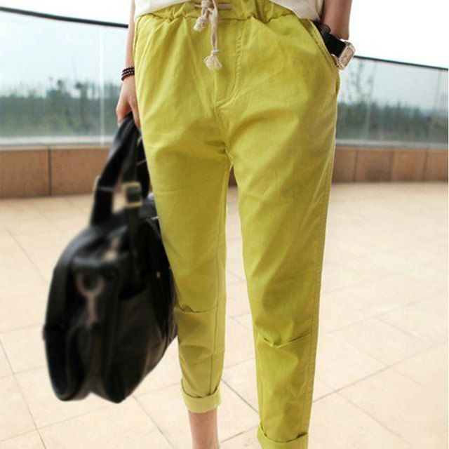 2015 Plus Size Ladies' Casual Pencil Four Color Capris Pants Cozy Cotton Women Trousers Elastic Waist Pocket Slim Fashion 3XL