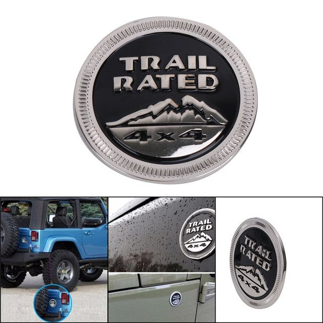 3D Metal Solid Steel Sticker Emblem Badge For Jeep Wrangler Logo Trail Rated 4X4 Fender Truck Black Car Decal C/5