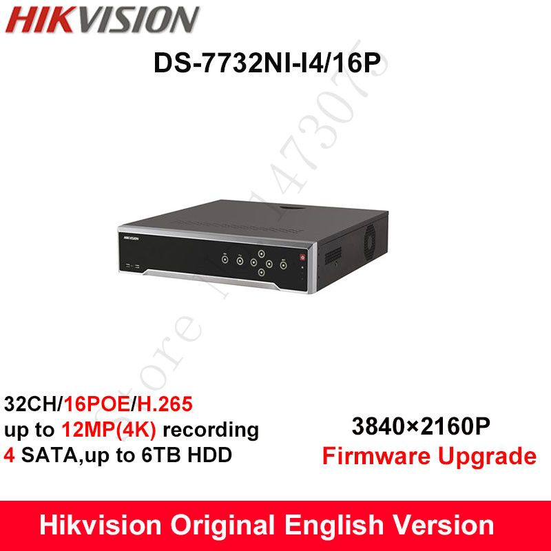 In stock Hikvision DS-7732NI-I4/16P original English H.265 32CH NVR with 4 SATA 16 POE,HDMI up to 4K alarm Recording up to 12MP