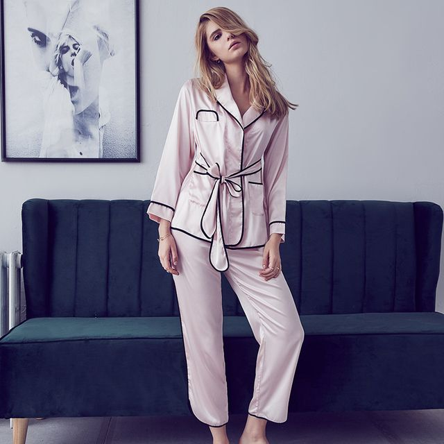 Munllure Underwear sexy faux silk comfortable stand collar long-sleeve sleepwear lounge twinset