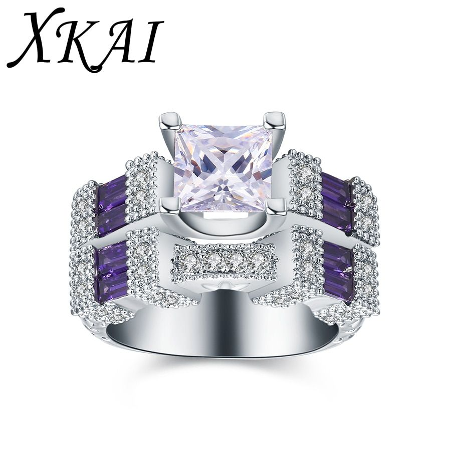 XKAI 2017 New white silver color rings for women Purple stone ring CZ Stone jewelry Wedding Engagement Ring sets gifts XKR891