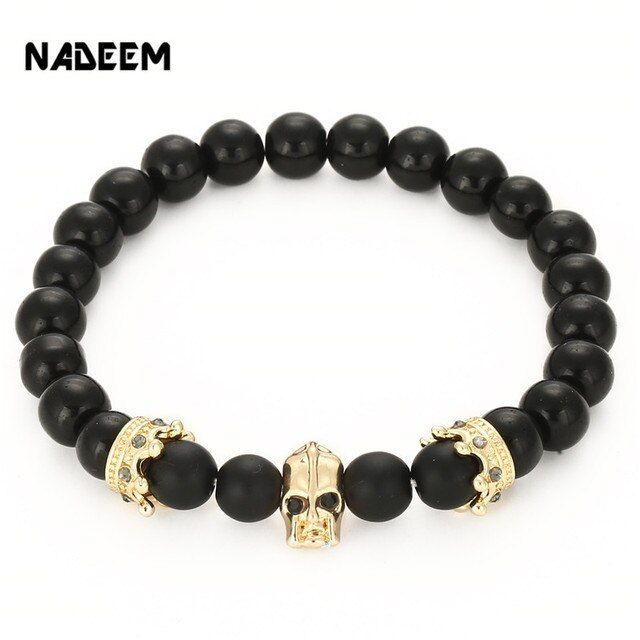 Wholesale 8mm Onxy and Matte Stone Bead Micro Pave CZ Charm Men's Gold Color Spartan warrior Helmet Charm Elastic Bead Bracelet