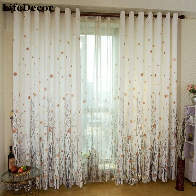 Rich Tree Curtain Modern Brief Rustic Fluid Quality Finished window Curtains Finished Production Window Bedroom Curtains Tulle
