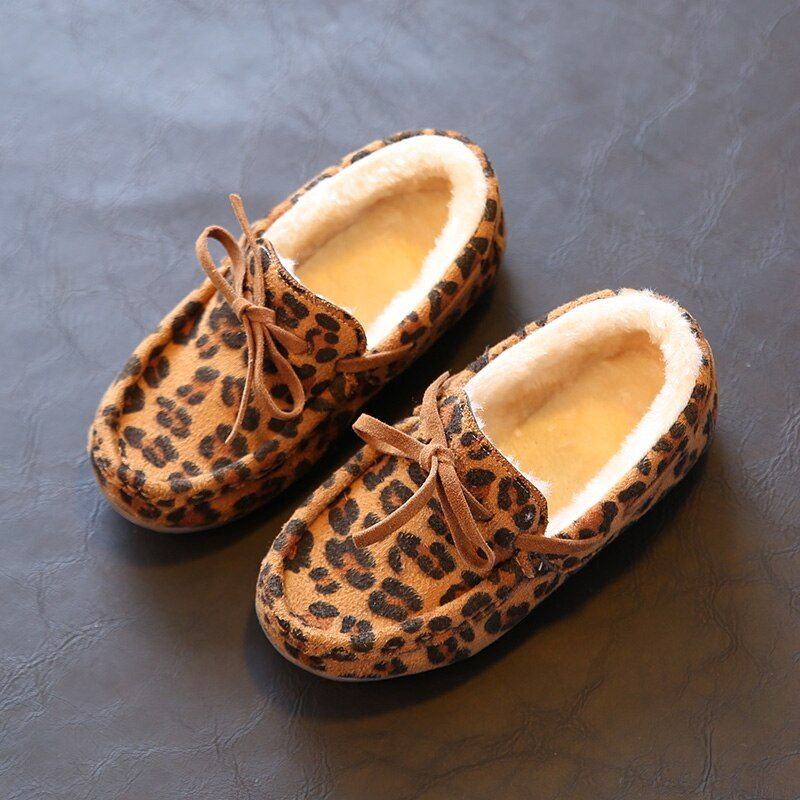 2016 New Winter Children Shoes Non Slip Girls Leather Shoes Leopard Princess Slip-on Shoes kids Cotton-Padded Keep Warm Sneakers