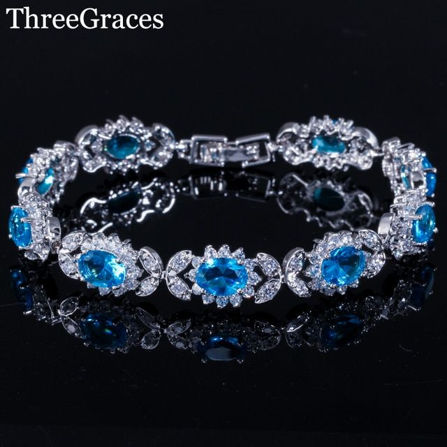ThreeGraces Luxury Silver 925 Jewelry High Quality Cubic Zirconia Light Blue Big Flower Crystal Charm Bracelet For Girls BR102