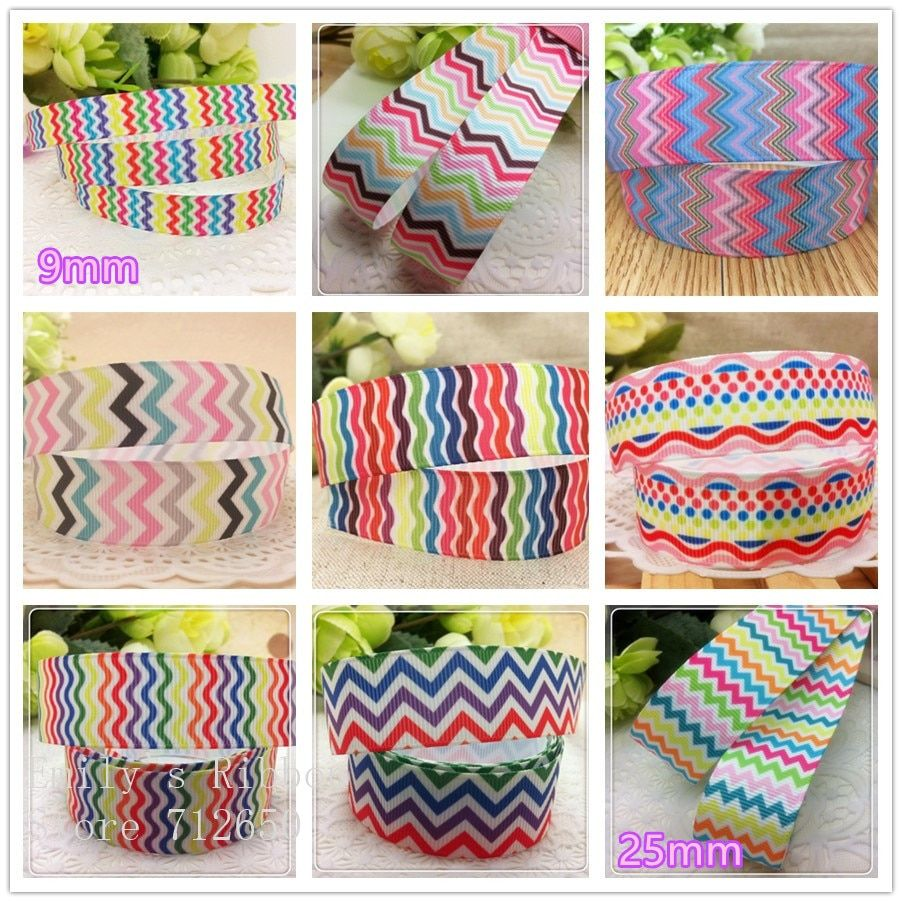 free shipping 10 yards waves printed Grosgrain ribbon Polyester chevron Ribbon DIY hairbow clothing shoe bag accessories