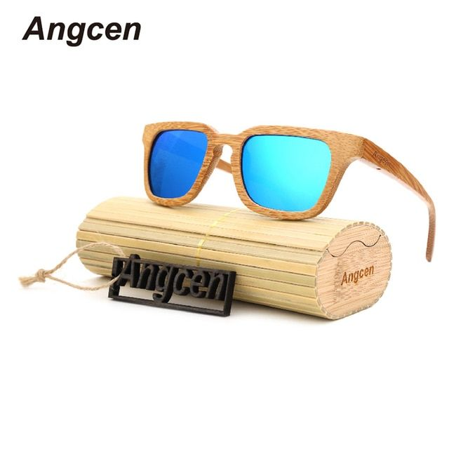 Angcen 2017 New Brand Designer men Polarized women Blue Skateboard Wood Glasses Sun Retro Eyewear UV400 Fashion Round Sunglasses