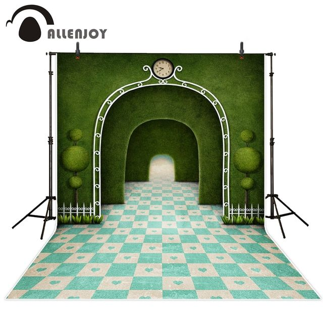 Allenjoy Blue Lattice Green arches background for photographic studio personal custom exclude stand vinyl photography backdrop