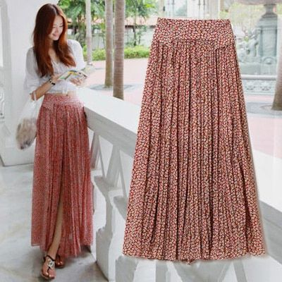 Free Shipping 2019 New Fashion Chiffon Beach Long Maxi Bohemian Flower Print Women Skirts With Slit Summer Style Floral skirts