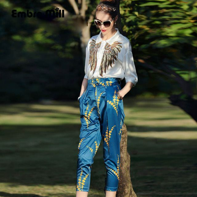 Womens two piece set new arrival American and European fashion runway white sequined shirt top + print pants lady suit S-XL