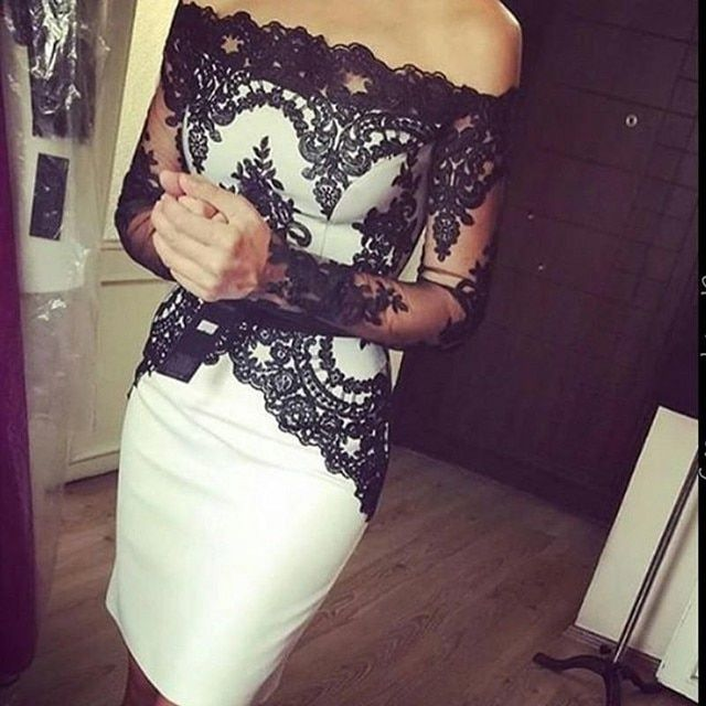 Elegant Little Black Robe De Soriee 2016 Cocktail Dresses Off the Shoulder Lace Sheer Long Sleeve Short Party Prom Gowns