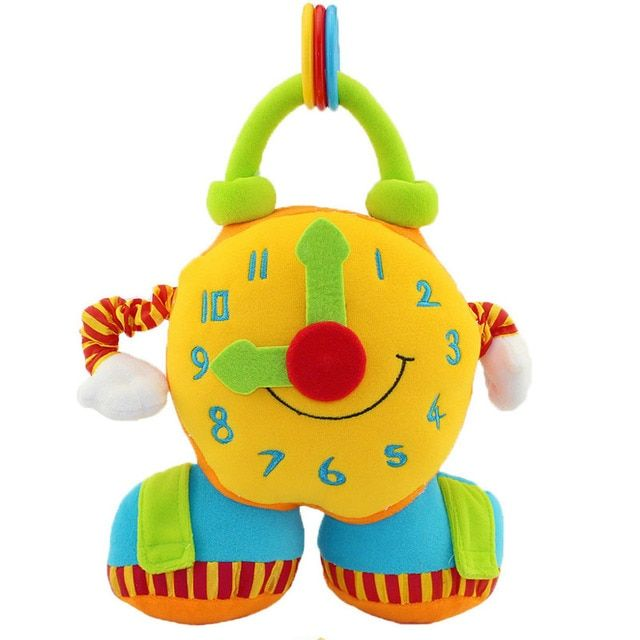 soft creative Puzzle Alarm Clock stuffed plush and cloth doll large early education pull shaking toys gift