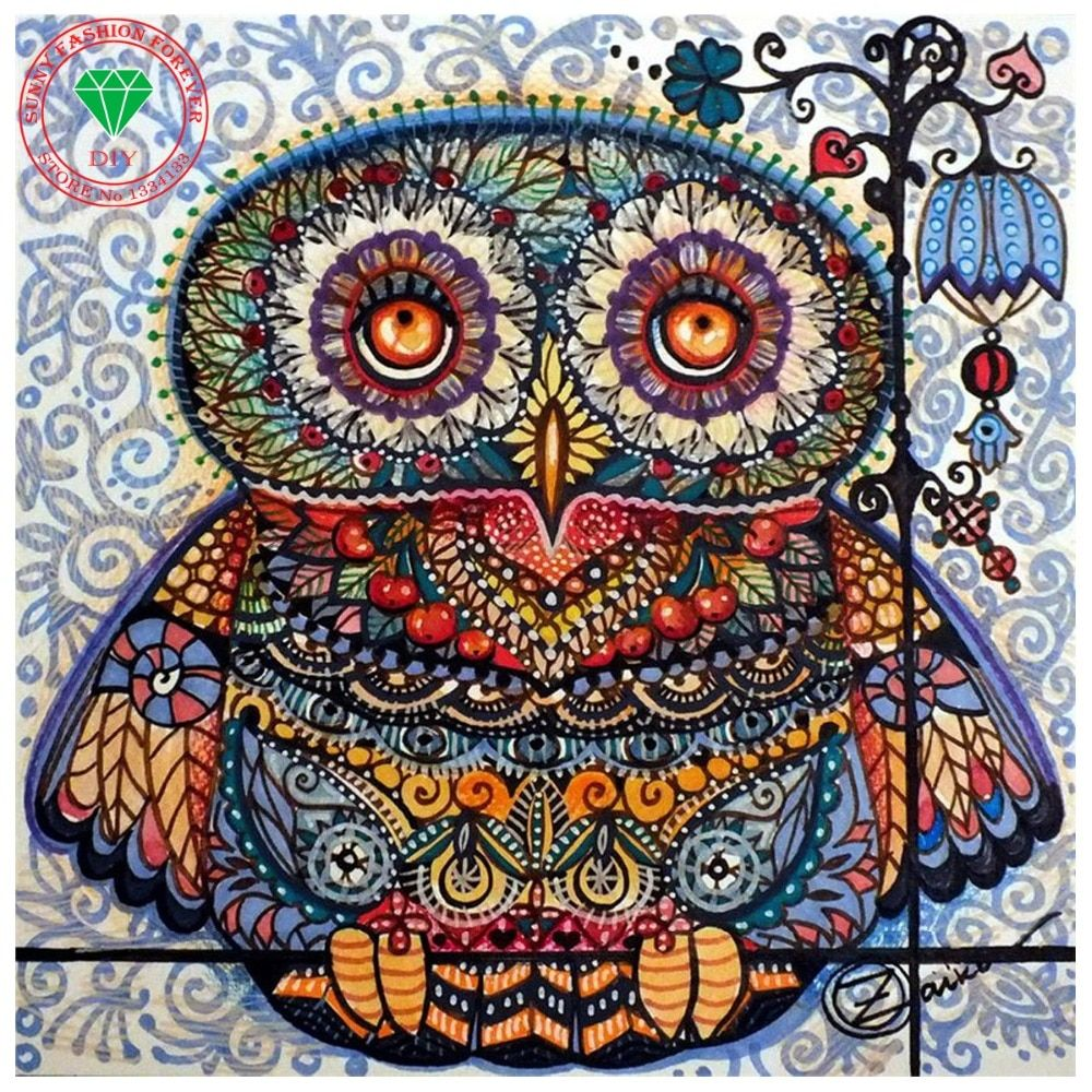 DIY Diamond painting Handmade Cross stitch kit Diamond embroidery Cartoon Owl 5d Diamond mosaic Paste pattern Beads rhinestones