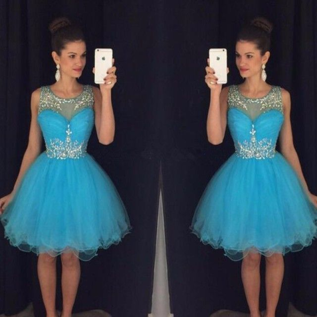 Elegant Blue Homecoming Dresses ajax 2017 Tulle Sheer Crystal Short Prom Dress Sexy Women Party 8 Grade Graduation Gowns Cheap