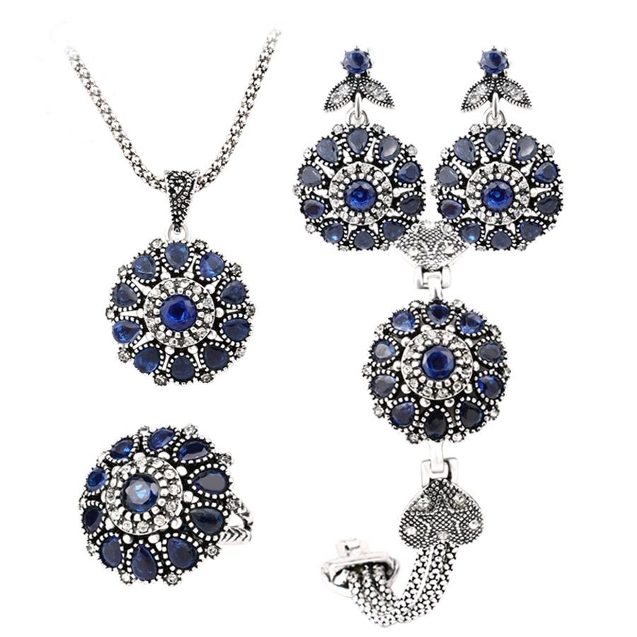 Gukin Blue Crystal Jewelry Sets 4Pcs Silver Plated Round Retro Rose Flower Earrings Bracelet And Ring Pendant Necklace Sets
