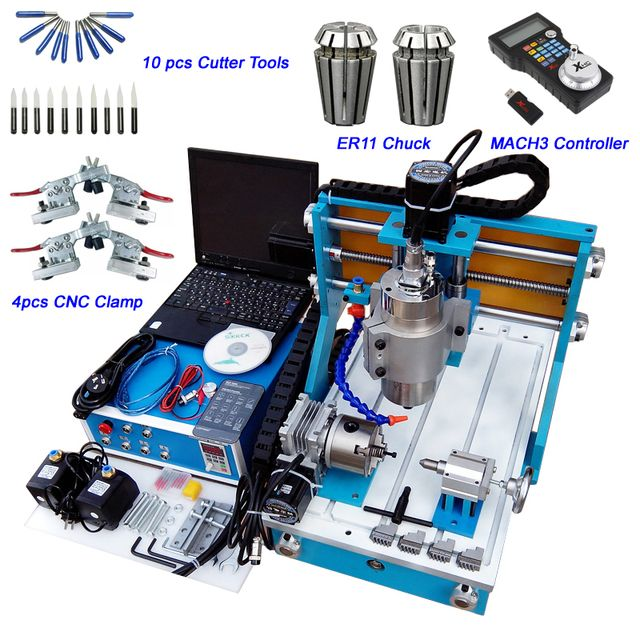 Desktop Mini CNC Router 3040 4 Axis Engraving Machine 800W Water Cooled CNC Lathe Machine