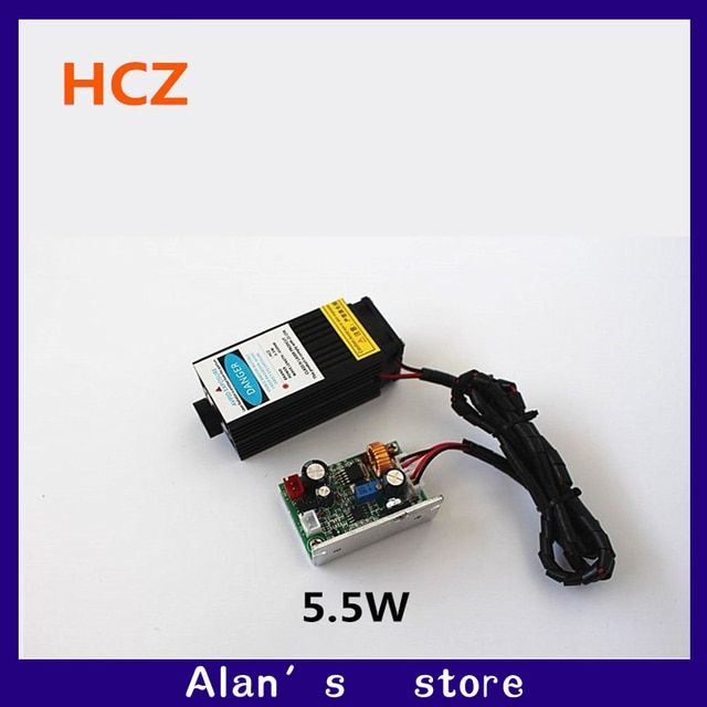 5.5w laser High-power 450nm blue laser head  module co2 laser engraving  TTL  red 5500mw laser head cnc