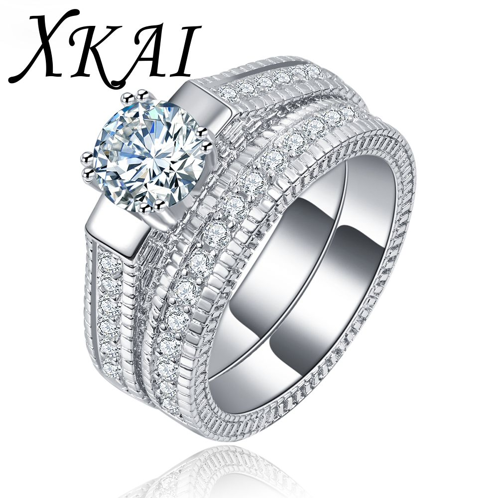 White Gold color Ring Sets for women engagement ring cz stone vintage women rings fashion Jewelry Accessories gifts XKR121