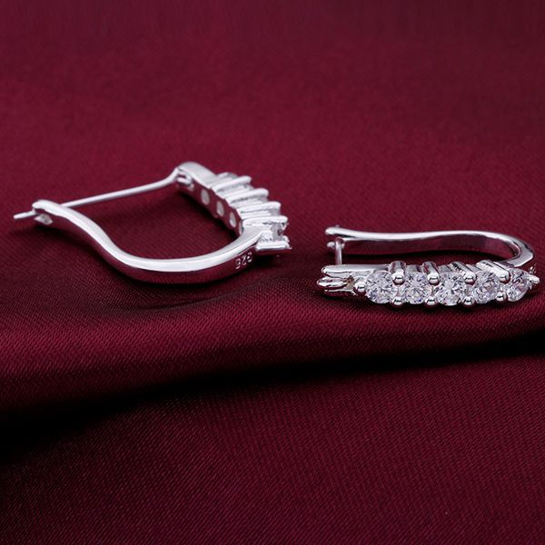 earrings , silver plated fashion jewelry , U-shaped ear buckle inlaid stone /cocalfja efkamwra LKNSPCE312