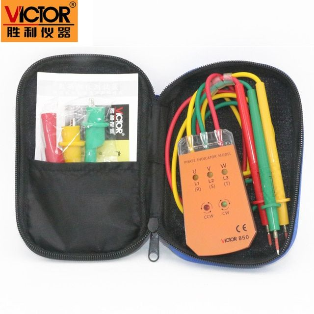 VICTOR VC850 3 Phase Sequence Rotation Indicator Tester 200~480V Checker Meter LED+Buzzer