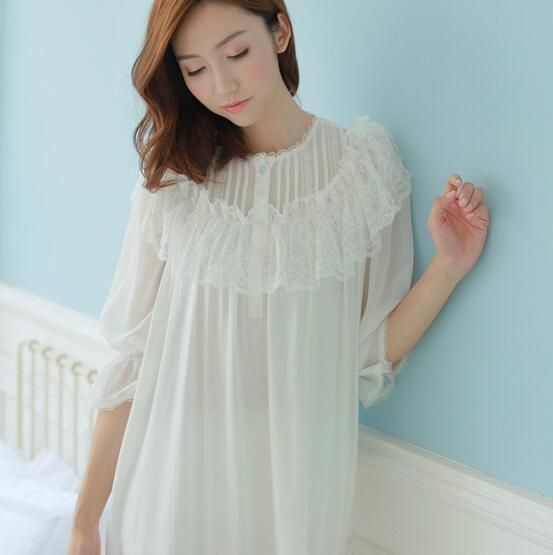2018 New Pyjamas Frincess Nightdress Women's Cotton Long Nightgown Home Wear Nightshirt S208