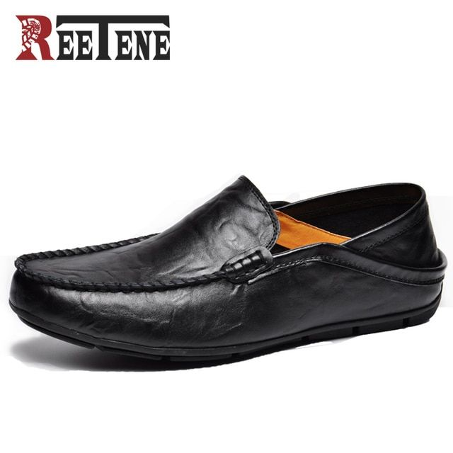 REETENE Fashion Casual Driving Shoes Genuine Leather Loafers Men Shoes 2017 New Men Loafers Luxury Flats Shoes Men Chaussure