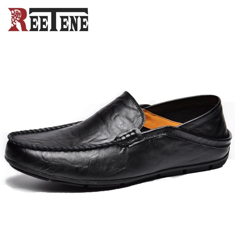 REETENE Fashion Casual Driving Shoes Genuine Leather Loafers Men Shoes 2019 New Men Loafers Luxury Flats Shoes Men Chaussure