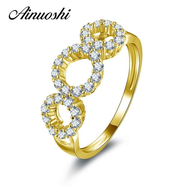 AINUOSHI 10K Solid Yellow Gold Wedding Ring Sona Simulated Diamond Finger Anniversary Twisted Jewelry Bands Women Wedding Rings