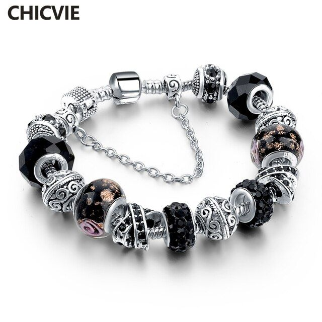 CHICVIE Black Crystal Chain Link Bracelets For Women Female Charm Custom Bracelets & Bangles DIY Silver Color Jewelry SBR160014