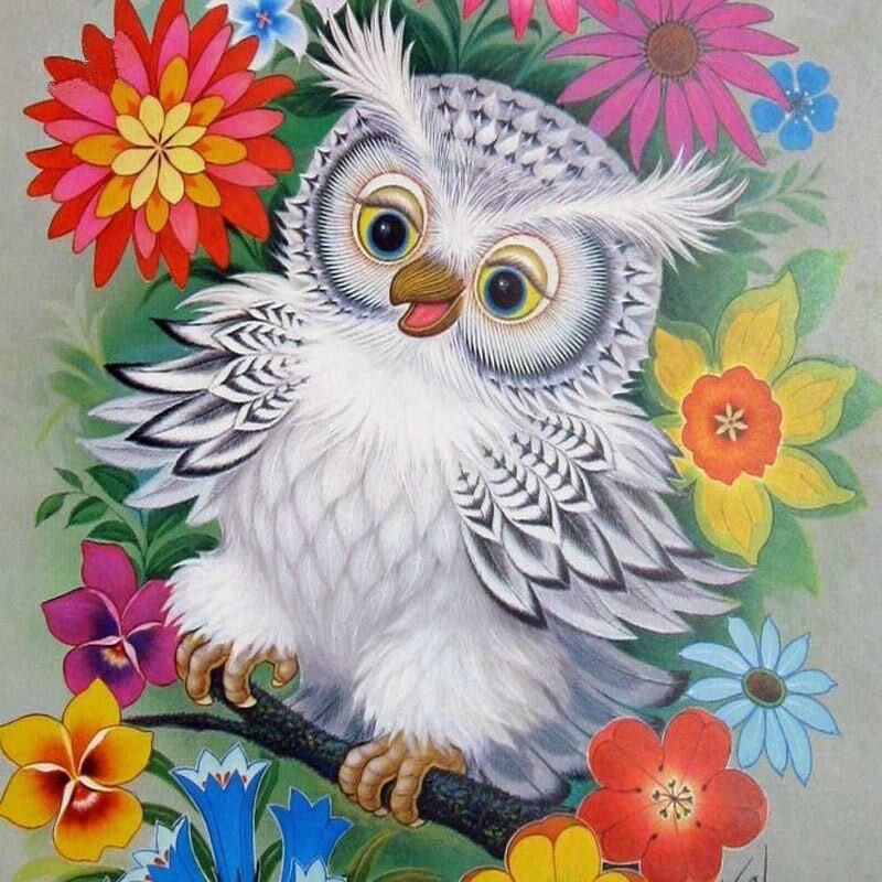 White Owl and Flowers Diy Diamond Mosaic Embroidery Wall Sticker Full Square Drill 5D Diamond Painting Cross-stitch Resin Crafts