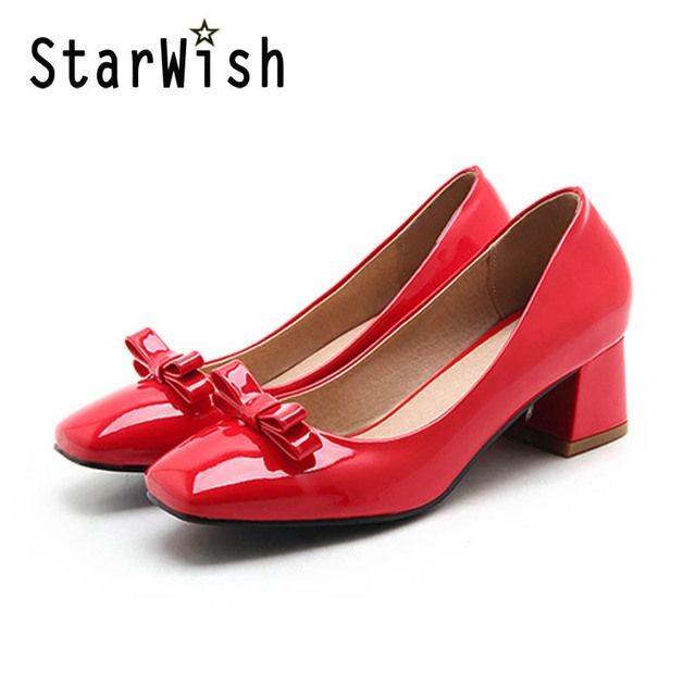 STARWISH New Fashion Patent Shallow Mouth Middle Height Women Pumps Sweet Bowtie Office Heels For Women Ladies Casual High Heels