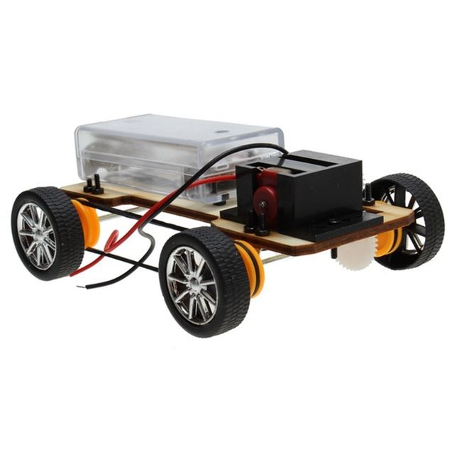DIY Wooden Four-wheel Drive Electric Car Assembles Model Building Kits Toy Christmas Holiday Gift for Kids Children