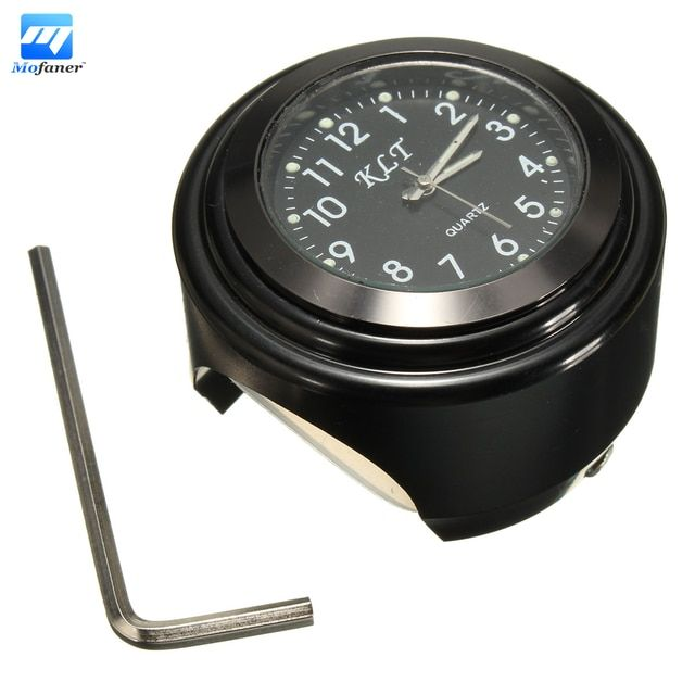 "Waterproof Universal 7/8"" 1 inches  Motorcycle Handlebar Mount Black Dial Watch"