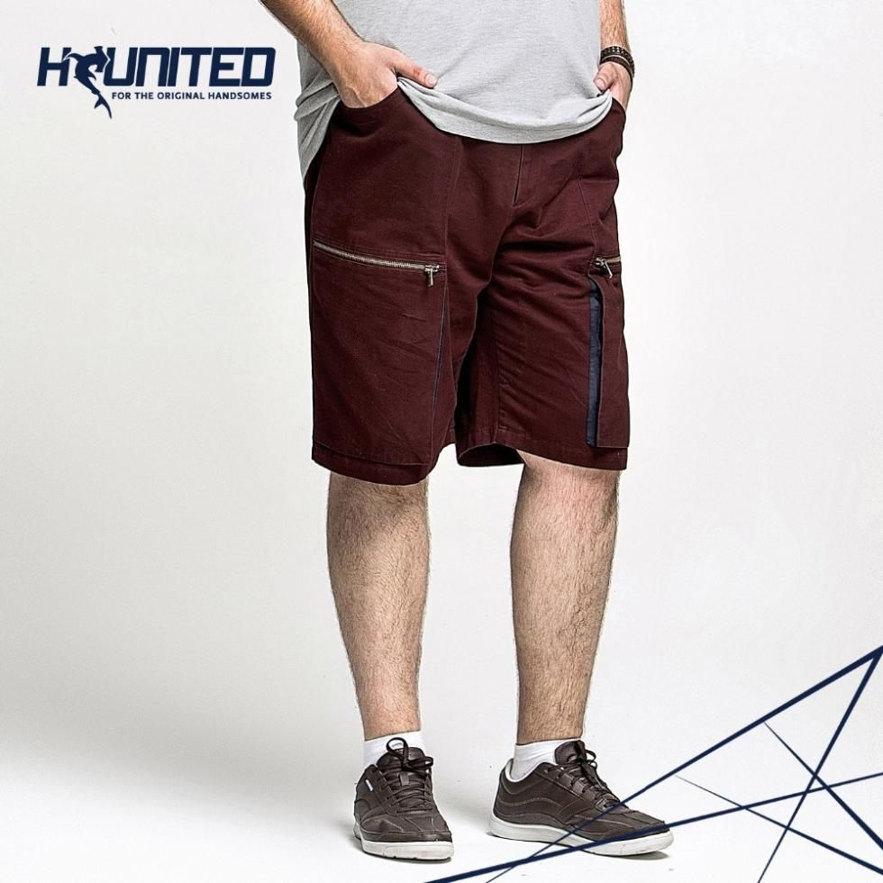 2016 Summer Brand Clothing Casual Man Shorts,Plus Size Cotton Men Shorts, Mid Waist Black / Red Short Pants38 40 42 44 46 48