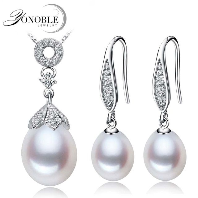 Natural pearl jewelry bridal jewelry set for women,pearl set 925 silver pendant earring conjuntos joyas de perlas