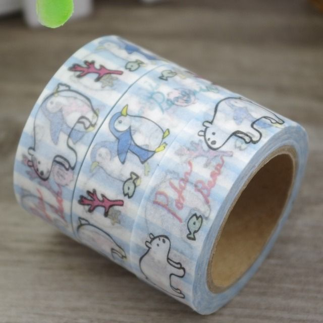 2017 New 1x Cartoon Animals Polar Bear & Penguin Japanese Washi Tape Decorative Masking Tape Cinta Adhesiva Adhesive Tape 10M