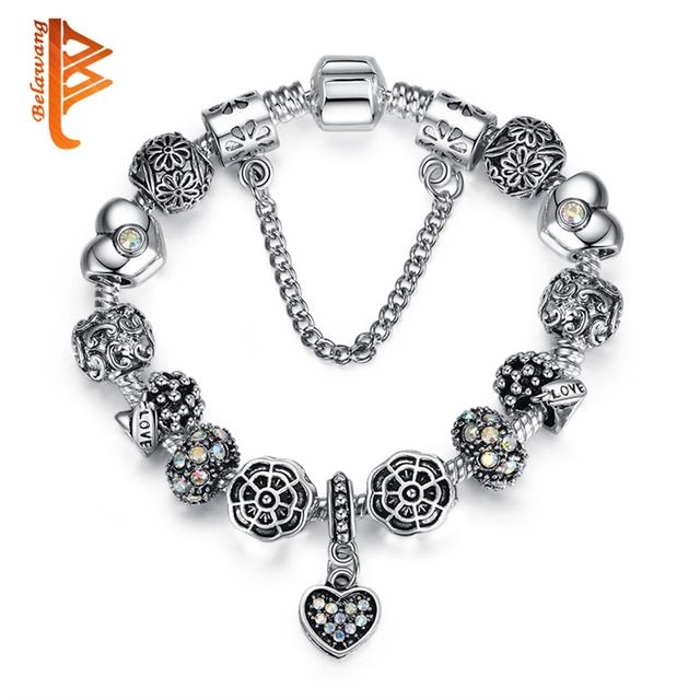BELAWANG Fashion Vintage Crystal&Murano Glass Beads Heart Charm Bracelets For Women Snake Chain Bracelets & Bangles DIY Pulseras