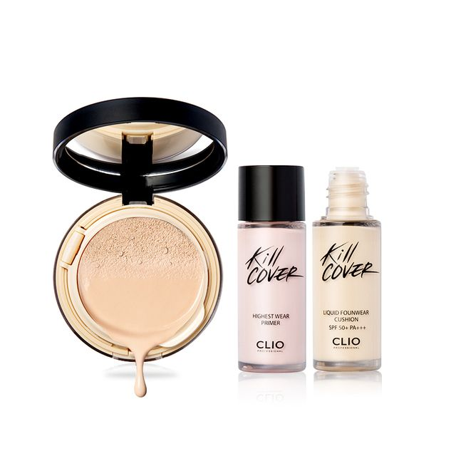 Original authentic Clio KILL COVER Liquid Founwear Cushion Air cushion BB foundation powder SPF 50+ PA+++
