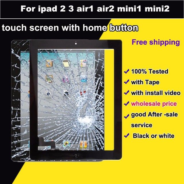 BQT 100% Test for Ipad air air2 glass panel  Digitizer For ipad 2 3 mini1 mini3 Touch Screen IC with Home Button