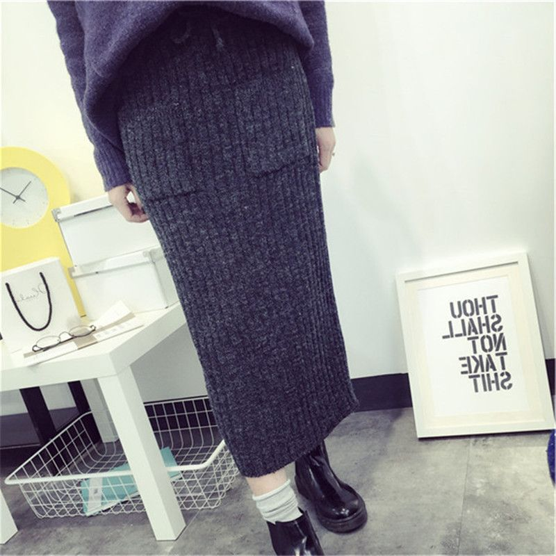 Fashionable School Skirts japanese Preppy Style thick knit warm winter skirts for women high waist pocket pencil skirt