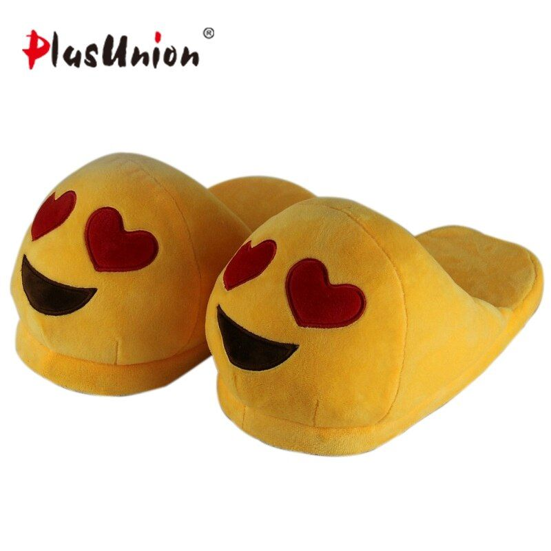 emoji slippers women cute indoor warm shoes adult plush slipper winter furry house animal home cosplay costumes autumn pantoufle