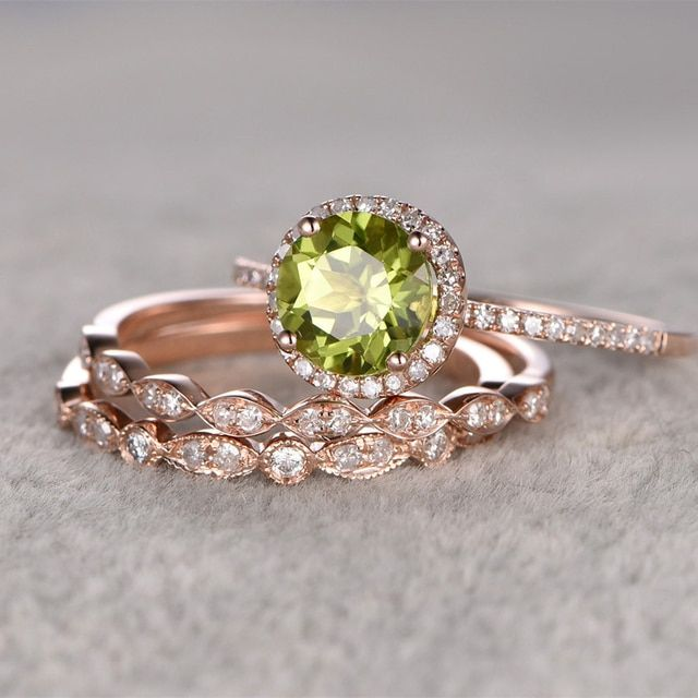 Ring For Wome 0.2CTW 3pcs 14k Rose Gold 7mm Natural Peridot Bridal Set topaz side stone Engagement Ring Gemstone ring Ring Set