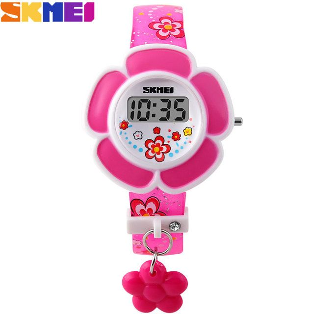 2017 New SKMEI popular Brand children kids fashion Sports Watches Digital LED Wristwatches purple red rubber band flower charm