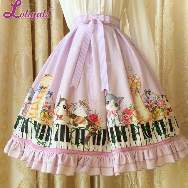 Spring/Summer 2017 Lolita Skirt Original Design Digital Printing Kitten and Piano Key Empire Waist Skirt for Girl