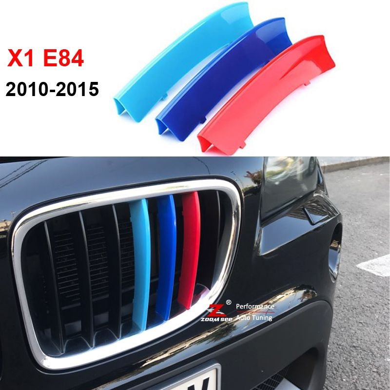 3D M Styling Front Grille Trim motorsport Strips grill Cover Decoration Stickers for 2009-2015 BMW X1 E84