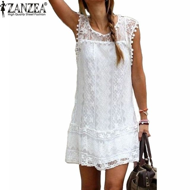 2018 Sexy Womens Summer Casual Sleeveless Evening Party Beach Dress Short Lace Tassel Mini Dress Vestidos Plus Size New Arrival