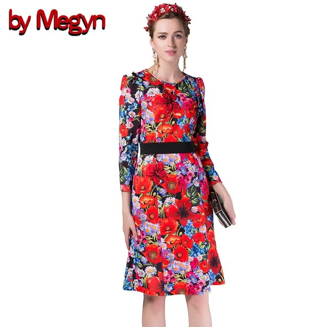 by Megyn 2017 Runway Dress Women High Quality Long Sleeve Cute Red Flowers Print Sequin Knee Length Mermaid Dress DG117